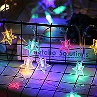 yazi イルミネーションライト ハロウィン 装飾  クリスマスツリー飾り ストリングライト LEDライト 部屋飾り 室内・室外 防水 電池式 コンセント不要 フェアリーライト お部屋・喫茶店・ホテルなどに適用 五角形の星柄 (カラフル)