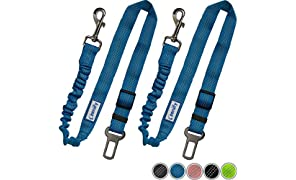 Zenify Dog Car Seat Belt Extendable Lead (2 Pack) - Bungee Leash for Dogs Puppies - Pet Adjustable Elastic Seatbelt Harness Vehicle Safety Birthday Road Trip Gift Idea (Blue)