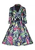 VINDOOXI 女性の3 / 4の高級なネックのオードリー・ヘップバーンスタイルの1940年代のロカビリードレス[並行輸入品] (M, レッド)