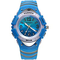 7 Colors Flashing Kid Rubber Watch, 30M Water Resistant, Chronograph Stopwatch Sport Watch (Blue)