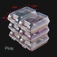 YONGJUN 透明な靴箱ストレージの組み合わせクリエイティブシューボックス仕上げストレージボックス6パック ( 色 : ピンク ぴんく )