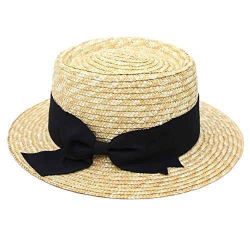 [可愛さ倍増] ストローハット ハット 帽子 カンカン帽 麦わら帽子 リボン付き 紫外線 UVケア (Marib select) レディース ぼうし #870 (ブラック)