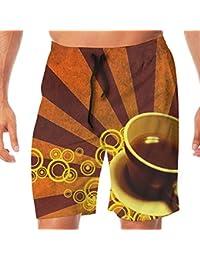 メンズ水着 ビーチショーツ ショートパンツ コーヒー スイムショーツ サーフトランクス 速乾 水陸両用 調節可能