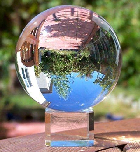 スタンド付き透明水晶球 (80mm(クリスタルの台座))...