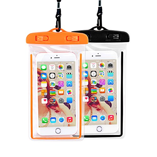 防水ケース 2枚セット Philonext iPhone X/8/7/6/Plus スマホ用 携帯防水ケースフォンケース カバー IPX8認定 水面上にフローティング 海水浴 潜水 お風呂 水泳 砂浜 水遊びなど用 (2セット)