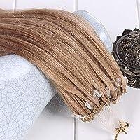 FidgetGear 7A 16-26インチマイクロループリングビーズ二重描画レミー人間の髪の毛の拡張子 #16ダークホーンブロンド
