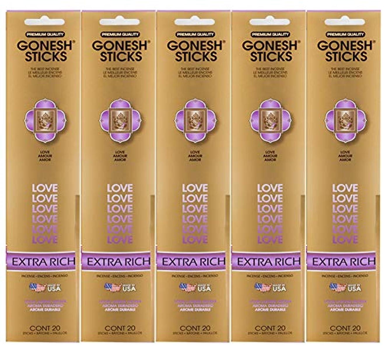米国円形の新しい意味Gonesh お香スティック エクストラリッチコレクション – Love 5パック(合計100)