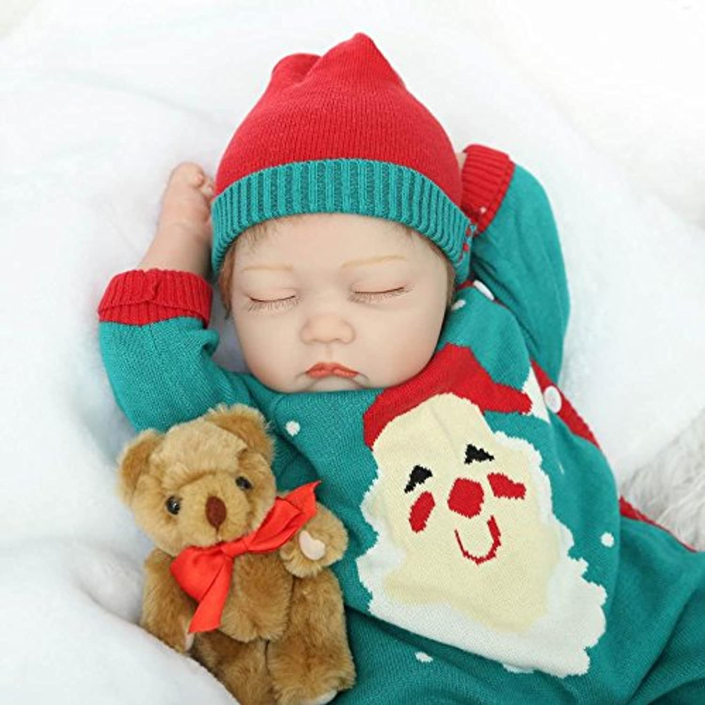 新しいクリスマスギフト新生児ベビー人形Lifelike Girl Asleep Reborn DollsサンタDecorレディースNursery Toy収集