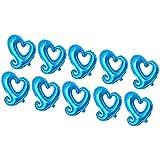 Fenteer 18インチ アルミホイル製 ラブハートの形 バルーン ウエディングパーティー デコレーション 10個入り 全6色 - ブルー