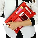 バッグインバッグ 可愛い メッシュポケット 多機能 大容量 レディース収納ポーチ 収納バッグ インナーバッグ ipad収納ケース 化粧品収納ポーチ メイクバッグ 贈り物 プレゼント 赤色