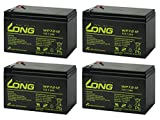 LONG サイクルバッテリー WP7.2-12(産業用鉛蓄電池) 4個セット■WP8-12 12SN7.5 NP7-12 PE12V7.2 HP6.5-12 HR9-12 互換 WP7.2-12