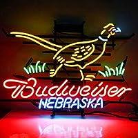 ネオンサイン、『Budweiser Nebraska 』NEON SIGN ディスプレイ サインボード、ギフト、 省エネ、バー、オーム、カフェ、喫茶店、広告用看板、クラブ及び娯楽場所等 インテリア 20*18インチ ME192