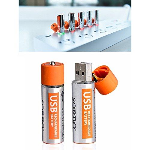 2000回繰返し充電 大容量USB充電池 USBバッテリー 1.5Vリチウム...