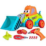 Take Apart Truck Toys for Kids, AOLVO Friction Powered Car Construction Vehicles Toy Set with Electric Drill Tool for Girls & Boys