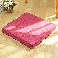 スクエア 畳 シートクッション, 日本語 バルコニー ベイウィンドウ 籐 チェアクッション ヨガ マット 厚く 布団 枕 チェアパッド-ローズレッド 45x45x8cm