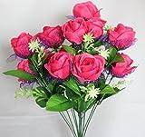 造花の バラ花束 華やかな12個 の 花の アレンジ ディスプレイなどに (バラ1本)