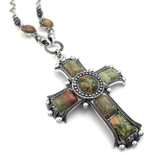 [해외][테메고 보석] TEMEGO Jewelry 남성 합금 빈티지 고딕 켈트 십자가 펜던트 목걸이 체인 목걸이~ 그린 실버 가져 오기/[Temgo Jewelry] TEMEGO Jewelry Mens Alloy Vintage Gothic Celtic Cross Pendant Necklace Chain Necklace~ Green Silver [Impo...