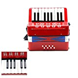 Andoer ミニ 小さいながらも本格的! 子供用  8ベース キッズ アコーディオン 17キー 知育玩具 音楽楽器 幼児楽器 教育 大人も楽しめます♪ リズムバンド 3色選択可能\