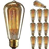 KINGSO 10個入 E27 ST64 60W ヴィンテージ エジソン電球 調光器対応 アンティーク フィラメント タングステン リスのケージスタイル 19アンカー ガラス ライト ホーム照明 器具装飾用 110V 電球色2700-3500K