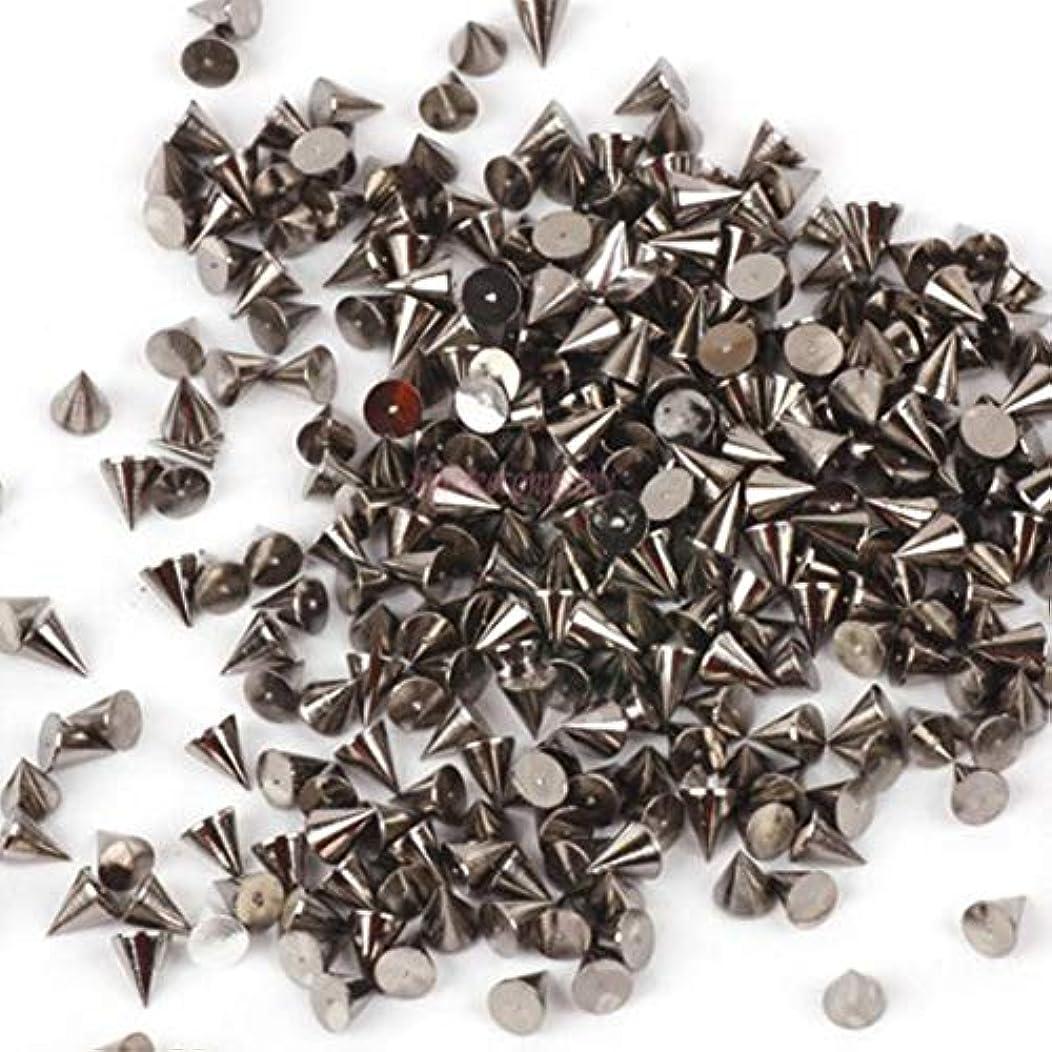 ローズ逸脱会計士100のテーパリベットネイルアート装飾金属ステープル3ミリメートル銀金属コーンネイルステッカー3dマイクロスパイク