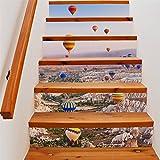 Yanqiao 熱気球 階段用のステッカー 壁紙 カッコイイ欧米スタイル 高品質 おしゃれ 防水または防潮 18*100cm