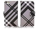 アイフォン5S【iPhone5s】 チェック 生地 PU手帳 手帳型 ブラック スマホ ケース スマホ カバー スマートフォンケース 【iphone5s-ki0004-b】【IS.MOELLEUX】
