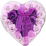 24個の手作りのローズ香りのバスソープの花びら香りのバスソープは、ギフトボックスの花びらをバラ (色 : 紫の)