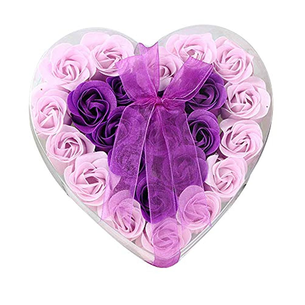 説明詳細な脇に24個の手作りのローズ香りのバスソープの花びら香りのバスソープは、ギフトボックスの花びらをバラ (色 : 紫の)