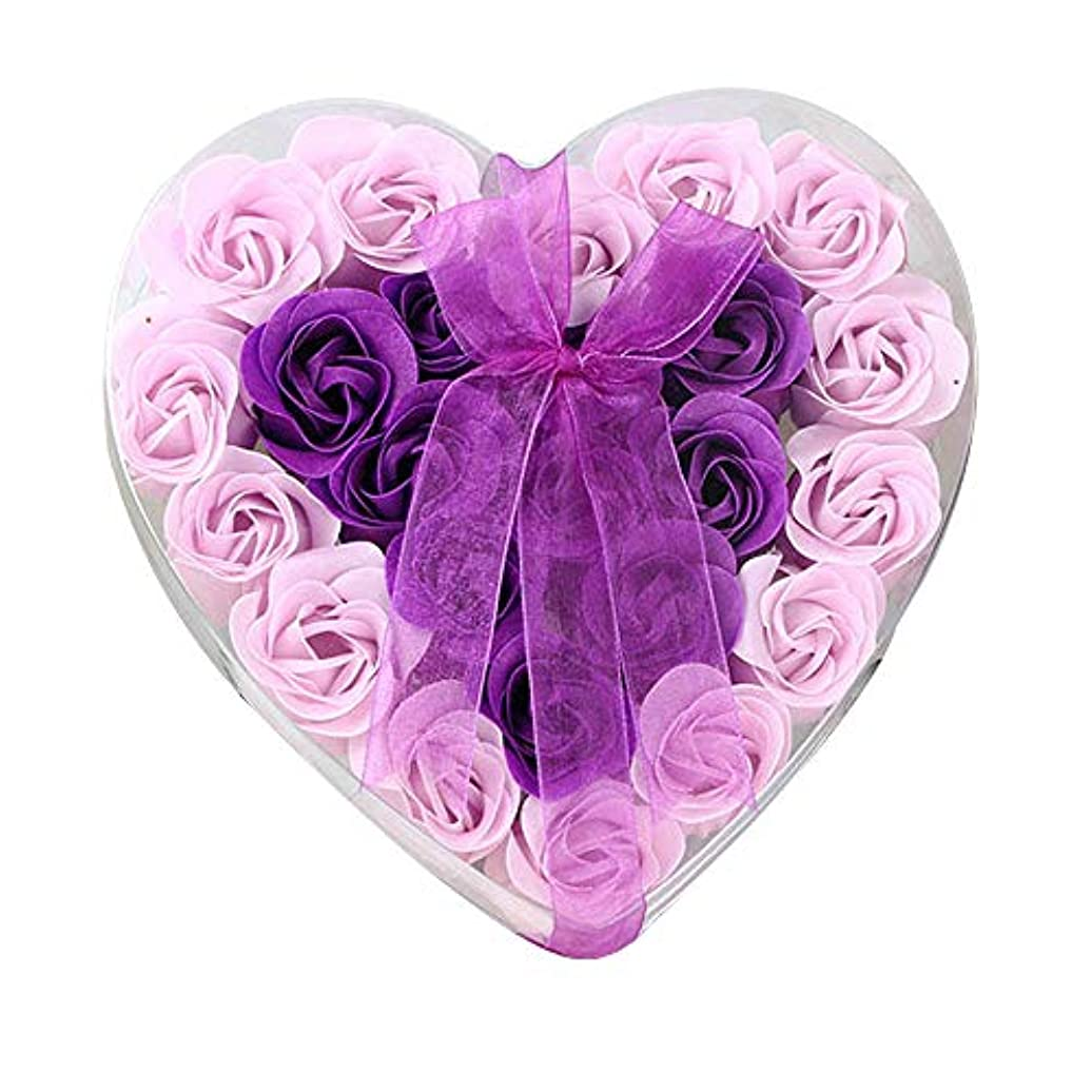 外向きテクニカル笑い24個の手作りのローズ香りのバスソープの花びら香りのバスソープは、ギフトボックスの花びらをバラ (色 : 紫の)