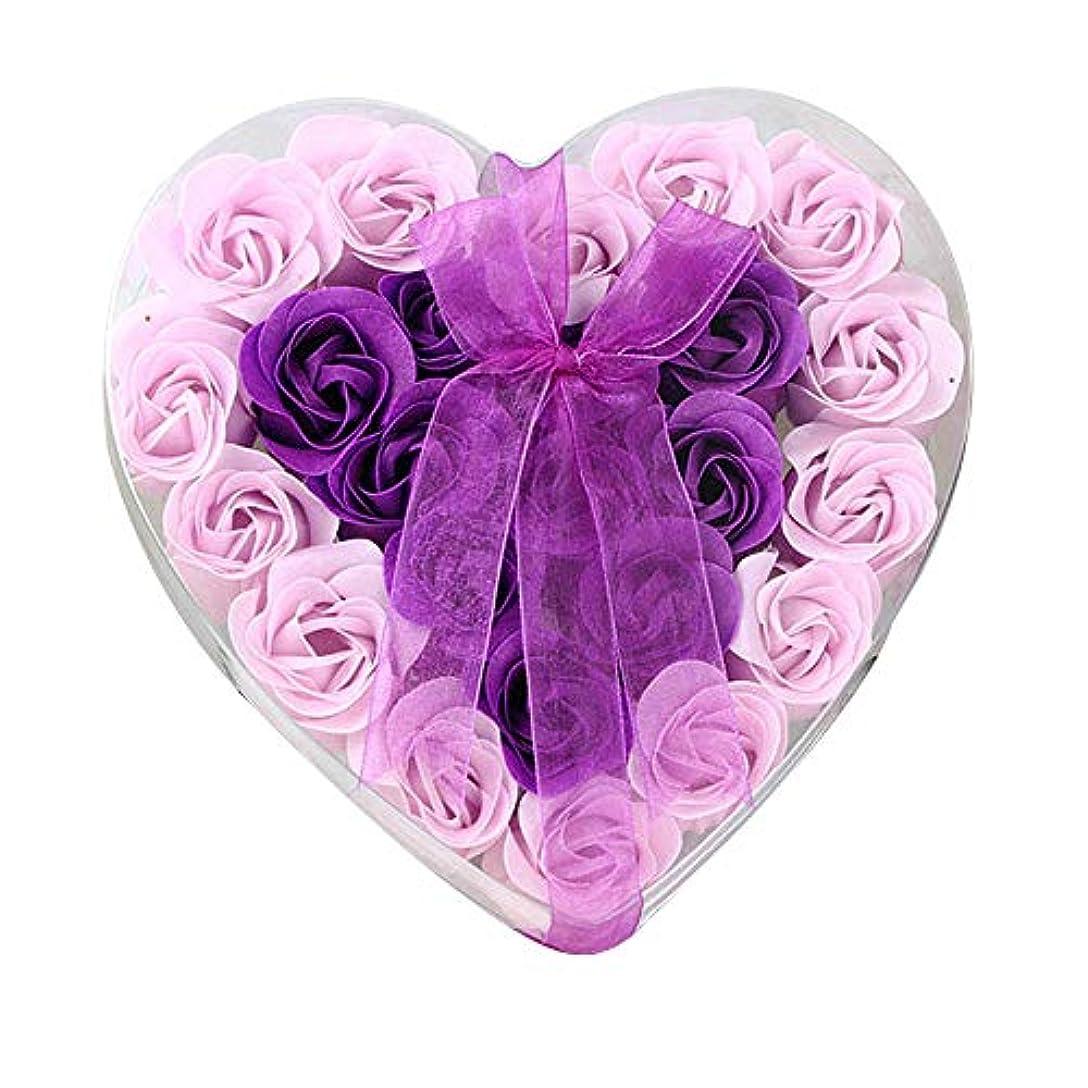 浸す輸血フォーマット24個の手作りのローズ香りのバスソープの花びら香りのバスソープは、ギフトボックスの花びらをバラ (色 : 紫の)