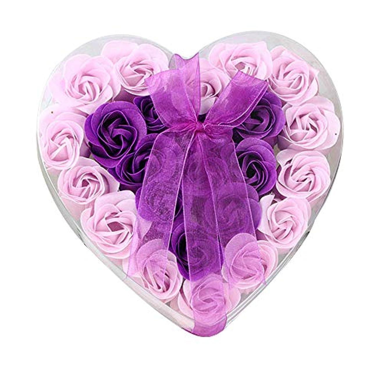 粘着性一時停止もろい24個の手作りのローズ香りのバスソープの花びら香りのバスソープは、ギフトボックスの花びらをバラ (色 : 紫の)