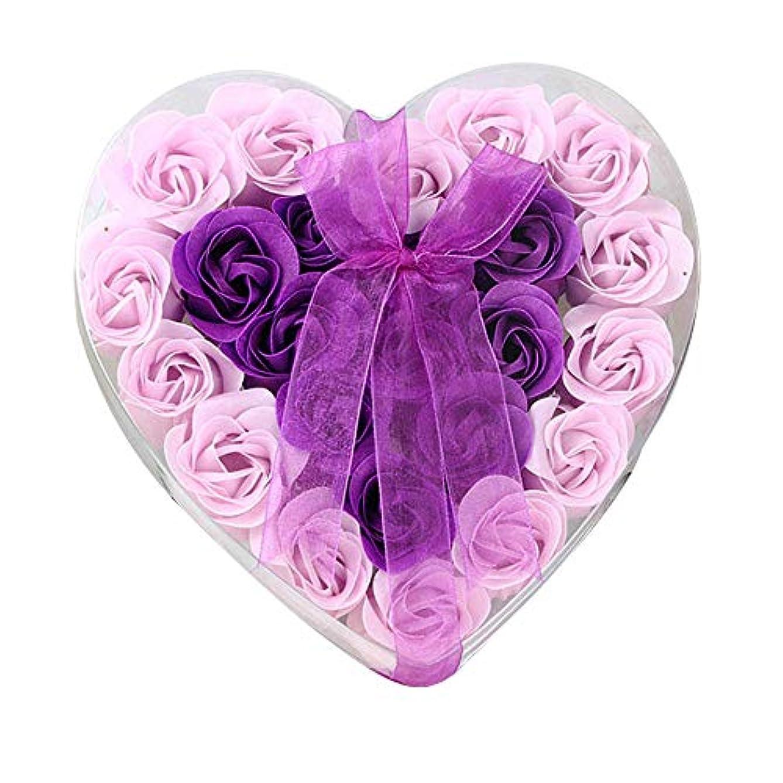 間のみ本質的ではない24個の手作りのローズ香りのバスソープの花びら香りのバスソープは、ギフトボックスの花びらをバラ (色 : 紫の)