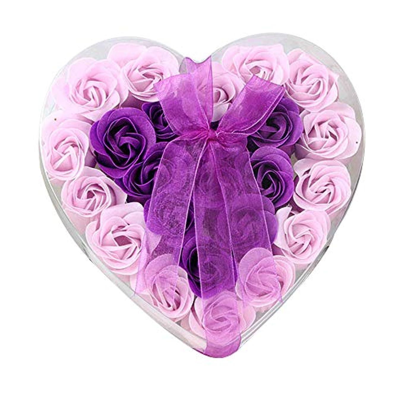 排泄する退屈な窓24個の手作りのローズ香りのバスソープの花びら香りのバスソープは、ギフトボックスの花びらをバラ (色 : 紫の)