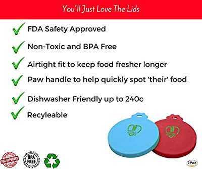 CAN COVER FOR PET FOOD – Pack of Two - FDA Approved Silicone Lids For Cat & Dog Food - Food Covers Seals the Can to Maintain Freshness and Lock In Smells – PAIR