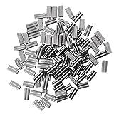 Baoblaze 約100個 ダブル バレル クリンプ スリーブ 真鍮 銅 チューブ コネクタ  全2サイズ - 1.8mm