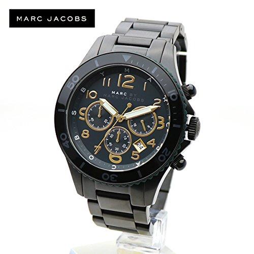 MARC BY MARC JACOBS マークジェイコブス MBM8590 ROCK 46 CHRONO ロック クロノグラフ メンズ ウォッチ 男性用 アナログ 腕時計 カレンダー ブラック ゴールド ブレスレット [並行輸入品]