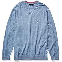 Nautica Mens N93001 Navtech Jersey V-Neck Sweater Long Sleeve Sweater
