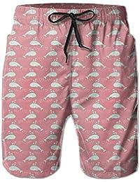メンズクジラ パターン ビーチパンツ 水着 ハーフスイムウェアサーフパンツ ボードショーツ 水陸両用 吸汗速乾