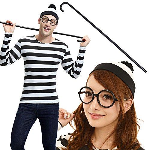 ウォーリー を探せ!! ウォーリー ウェンダ 黒白 男女共用 コスチューム ハロウィントップス ニット帽 丸眼鏡 靴下 杖付き 5点セット サイズS~XXL(Mサイズ)