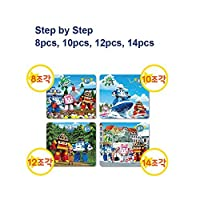 Robocar Poli Miniバッグパズル( Poliの春、夏、秋、冬、4セット: 8、10、12、14個)