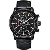 Shaarms Chronograph Sport Watch Men's Quartz Waterproof Leather Watches 3 Dial Date Display Black
