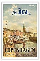 コペンハーゲン、デンマーク - イギリス・ヨーロッパ航空(BEA) - ビンテージな航空会社のポスター によって作成された イエルゲン・ブレンデキルド c.1955 - アートポスター - 31cm x 46cm