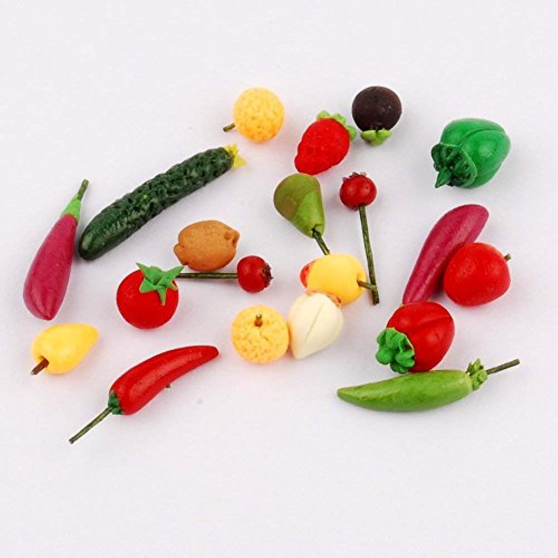 Newone 1:12スケール ドールハウス フルーツ フード ミニチュア ミニ 果物 装飾 野菜 食べ物  人形の家 装飾 (20個入り)