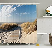 """Ambesonne Decor collectionshowerカーテンセットフック付き 69"""" W By 75"""" L sc_11161_Beach_Pathway _05.03_long"""