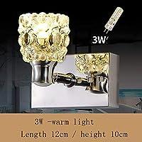 Xing バスミラーランプ - バスルームクリスタルミラーフロントランプシンプルなledミラーフロントライト防湿フォグクリスタルウォールライトステンレススチールミラーキャビネットライト - メイクアップミラーヘッドライト (Color : Warm Light-12cm-3w)