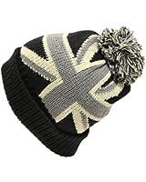 UK USA国旗柄ボン付きニット帽(ニット帽子 ワッチ)