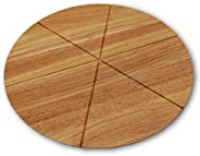 Checkered Chef Pizza Cutting Board - Round Wooden Chopping Board with Grooves to Slice and Portion Your Pizza - Reversible R