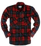 ( UN ANANAS )フリース 起毛 チェック シャツ 大きいサイズ 長袖 メンズ 秋 冬 カジュアル トップス あったか(レッド2XL)