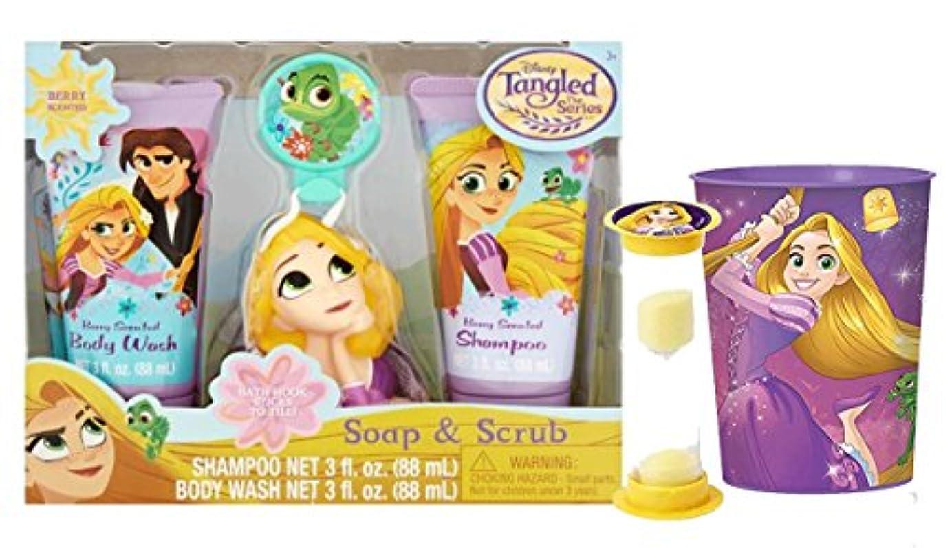 床を掃除するストライクうまくやる()Disney Tangled Inspired 6個ラプンツェルWash Buddy Bath Set 。シャンプー、ボディ機、バスフック、Scrubby、Rinse Cup &