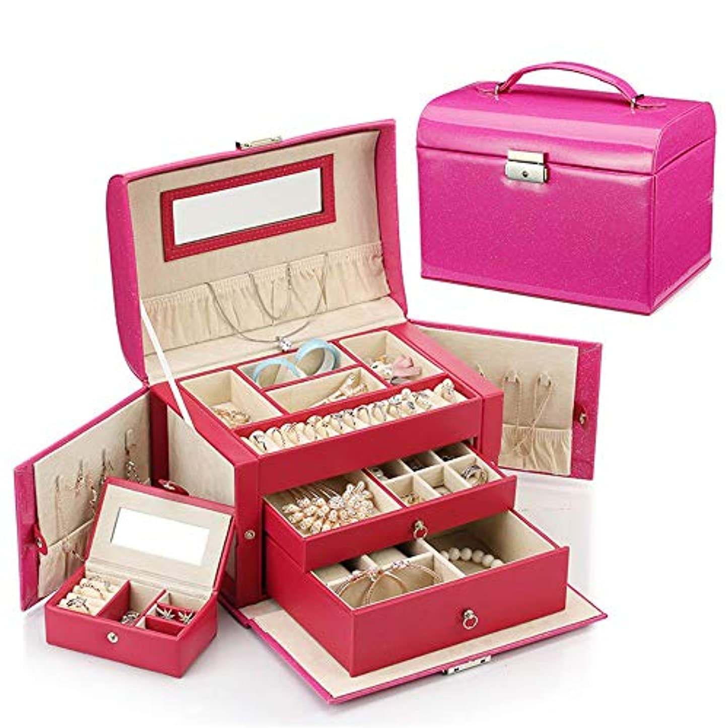 そのスカープフェローシップ化粧オーガナイザーバッグ 小さなアイテムのストレージのための丈夫な女性のジュエリーの収納ボックス 化粧品ケース (色 : ローズレッド)